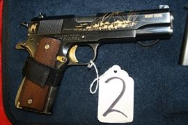 2	SPRINGFIELD	1911-A1 GULF VICTORY SERIES	AUTO	45	GOLD INLAYS, COA, PATCHES, CASE, 2-MAGS