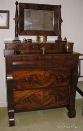 Antique Flame Mahogany Empire Chest with attached Mirror