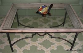Wooden edged framed glass top metal base table
