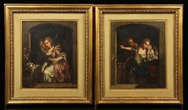 Two 19th Century Oil Paintings By the celebrated British artist Lord Frederic Leighton (1830 - 1896) | Victorian romantic scenes | Each is Oil on Canvas | Paintings are unsigned | Each painting has been professionally matted and housed in more recent gold carved wood frames | Dimensions: 15 3/4″ h x 12 1/2″ w (view), 22″ h x 20″ w (frame) | Provenance: From a prominent Massachusetts estate. Lord Frederic Leighton (1830 - 1896) was born in Scarborough, England in 1830, the son of a doctor. His grandfather, Sir James Leighton, was court physician to Czar Alexander I of Russia. Soon after Nicholas I became Czar in 1825 the Leighton family left Russia and spent the ensuring years traveling around Europe, giving Leighton first-hand acquaintance with its culture and treasures. Unlike most major artists of the nineteenth century Leighton did not study at the Royal Academy Schools, but received his training in Brussels, Paris and Frankfurt. Leighton was the only painter ever to be raised to th