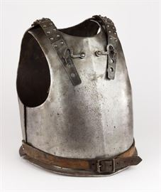 """Authentic 18th Century Plate steel European cuirass, constructed of a separate breastplate and backplate, with the latter attached to the former by means of an adjustable leather strap at each shoulder, protected by riveted steel plates, and with an adjustable leather waist belt. The inside of the backplate bears a large numeral """"7"""", likely an old auction or collector""""s accession number. Likely German Armor. The use of the cuirass as a military accoutrement has an extremely long history, from ancient Greek and Roman times all the way through to use by German and French heavy cavalry up to the beginning of World War I. Based on this example's use of machine-made rivets and buckles, we believe this armor to date from the 18th Century. The steel shows minor surface oxidation overall, with no active rust apparent, and the leather belts shows minor wear but remain supple, else very good.  Dimensions: 28"""" x 24"""" x 19"""""""