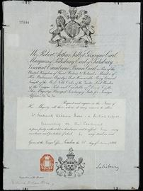 British Passport Signed by Robert Arthur Talbot Gascoyne-Cecil, the British Prime Minister & 3rd Marquess of Salisbury, Earl of Salisbury | Description: Very Fine 1898 British Passport for Frederick William Moss, signed by Robert Arthur Talbot Gascoyne-Cecil, a three time British Prime Minister for a total of 13 years (1885 – 1902), and also the 3rd Marquess of Salisbury, Earl of Salisbury | The Passport is double glazed | Measures 15.25″ H x 11″ W Dimensions: 5.25″ H x 11″ W Artist or Maker: Robert Arthur Talbot Gascoyne-Cecil Date: 1898 Condition Report: Excellent Condition.