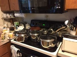 nice pots and pans, kitchen