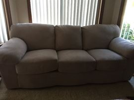 Nice taupe sofa,in Ultra suede, $250.00    84 in. wide., as new condition.