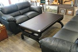 Leather Sofa  Loveseat  Table
