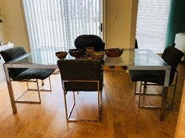 Milo Baughman chrome dining set