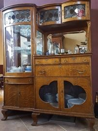 1895 Antique China Cabinet with Curved Glass Door