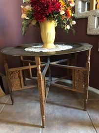 Antique Circular Table with Carved Metal Top from China