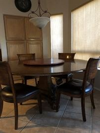 Unique Fine Dining Room Table and 4 Chairs with Removable Lazy Susan Turntable