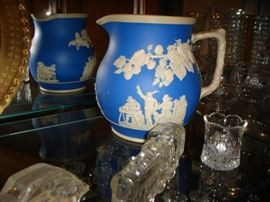 Spode porcelain pitcher, glass candy containers
