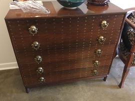 Beautiful 1960's Rosewood brass inlay chest - lined drawers for holding silver and silverware.