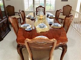 Full dining china set.  Another picture of dining room table with 8 chairs