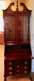 Beautiful Jasper Lighted Secretary in Excellent Condition