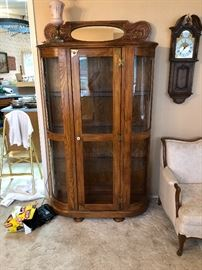 Solid Oak lighted curio