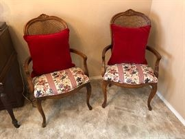2 French cane back arm chairs
