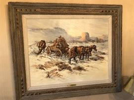 Fred Harman Western original oil, signed.