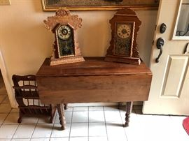 Maple drop leaf tables and 2 Oak antique mantle clocks