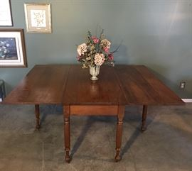 "Antique Drop Leaf Table (Leaves Down: 59""x25"") (Leaves Up: 59""x69"")"