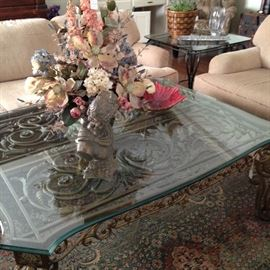 Ornate glass top coffee table