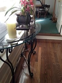 The side table matches this demilune glass top sofa/entry table.