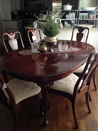 Oval table, six chairs, plus 2 arm chairs