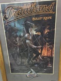 Framed Trailhand Knives advertising poster