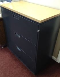 3 drawer Black File 36x19x38H