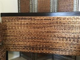 Beautiful Wicker and Wood Head Board