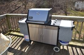Weber Genesis Gold gas grill in stainless.