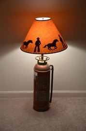 Fire extinguisher lamp with fun shade