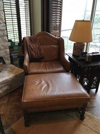 Gorgeous leather chair and ottoman