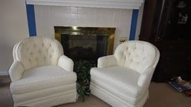 Custom Upholstered rocking club chairs