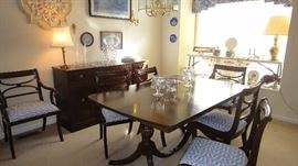 RWay dining room set, Table w/ 6 chairs, 1 leaf, table pads, Matching buffet , Matching China Cabinet