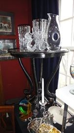 Black occasional Table, Crystal, vases, pitchers