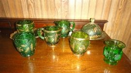 Vintage Green and Gold Pressed Glass