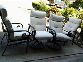 Patio set with cushioned chairs