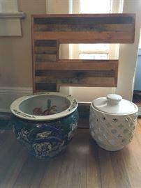 wood art, koi bowl, ceramic lantern