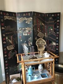 amazing chinoiserie folding screen (heavy!) and bamboo bar cart
