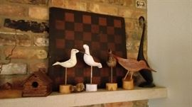 Bird carvings, wood game board