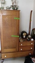 Antique oak dresser/chifferobe with mirror (not attached), antique clock, Asian style bowls