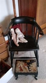 antique chair, footstool, sock dolls