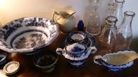 Blue and white china, milk bottles, decanters