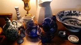 Cobalt blue glass, blue and white dishes, some ironstone