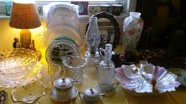 More antique dishes, oil lamps, mirror, decor