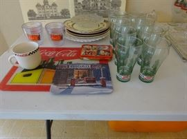 Coca Cola cutting board, cups, glasses and cards