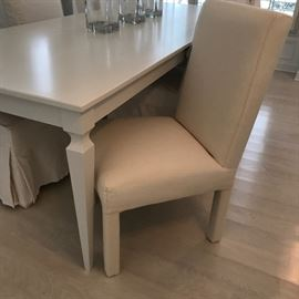 Ecru upholstery dining chair shown without slip cover