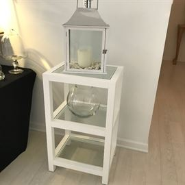Painted wood 3 shelf accent table and accessories