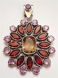 STERLING SILVER & MIXED GEM PENDANT