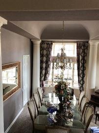 Large Glass Dining room set, Bohemian Crystal Glasses