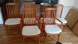 Set of six Benny Linden Design teak dining chairs ca. 1970's